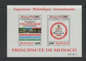 Monaco #2274 (2002 Philatelic Exhibition sheet) VFMNH CV $14.00;  FV €6