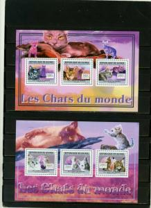 GUINEA 2011 CATS 2 SHEETS OF 3 STAMPS MNH