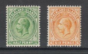 Falkland Islands Sc 30, 34 MLH. 1912 ½p & 6p KGV definitives, F-VF
