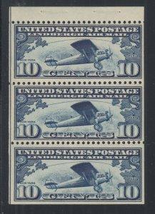 US Sc C10a MNH. 1928 10c Lindbergh Booklet Pane of 3