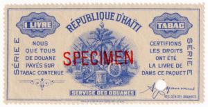 (I.B) Haiti Revenue : Tobacco Duty 1lb (ABN Specimen)