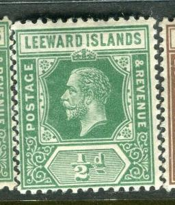 LEEWARD ISLANDS; 1912 early GV issue fine Mint hinged 1/2d. value,
