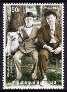 Chad 1999 Sc#808c DOG Laurel and Hardy Cinema (1) perforated MNH