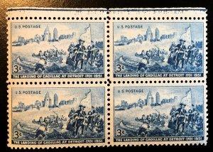 1000 Cadillac Lands in Detroit, MNH Block, Vic's Stamp Stash