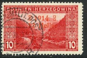 BOSNIA AND HERZEGOVINA 1914 12h on 10h OPEN 4 SEMI POSTAL Sc B2b VFU