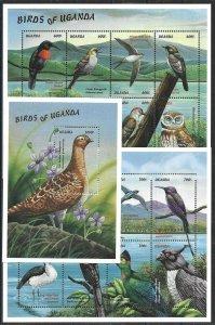 1999 Uganda Birds, Uccelli, Oiseaux, 3 Souvenir Sheets VF/MNH! CAT 36$ LOOK!