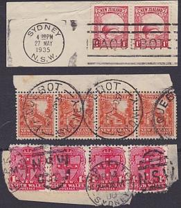 AUSTRALIA & NSW 1900-1937 3 pieces NZ & NSW stamps SYDNEY paquebot pmks.....5240