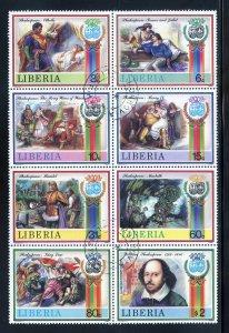 Liberia 1060 CTO, Shakesperian Plays Block of 8 from 1987.
