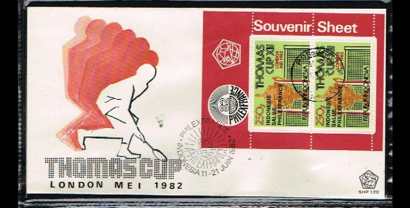 1982 - Indonesia FDC SHP 120_3 - Sport - Badminton - Thomas Cup - Philexfranc...