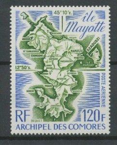 Comoro Islands 1974 #C65 MNH. Map