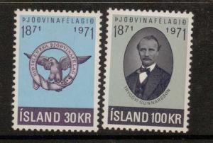 ICELAND SG486/7 1971 PATRIOTIC SOCIETY MNH