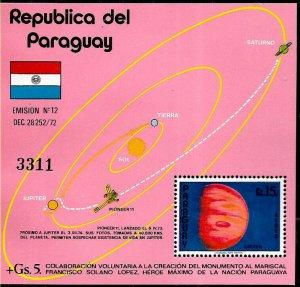 PARAGUAY 1975 SPACE SATELITS EXLORATION JUPITER PIONEER 11 S/SHEET MI 247 MNH