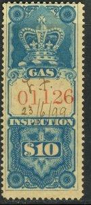 CANADA 1875 $10.00 GAS INSPECTION REVENUE VDM. FG16 F-VF USED