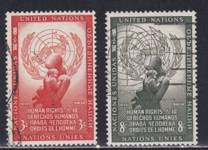 United Nations - New York # 29-30, Human Rights Day, Used, 1/3 Cat.