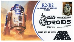 21-100, 2021,Star Wars Droids, R2-D2, First Day Cover, B/W Pictorial Postmark,