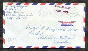 p973 - US 1967 APO 96499 Kontum Airforce VIETNAM WAR Cover to Waterloo CANADA