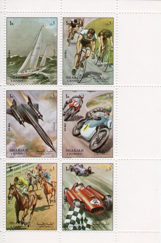 Sharjah 1972 Mi.#1282/1287 Sports/Motorbike/Cycling/Formula 1  Shlt (6) MNH