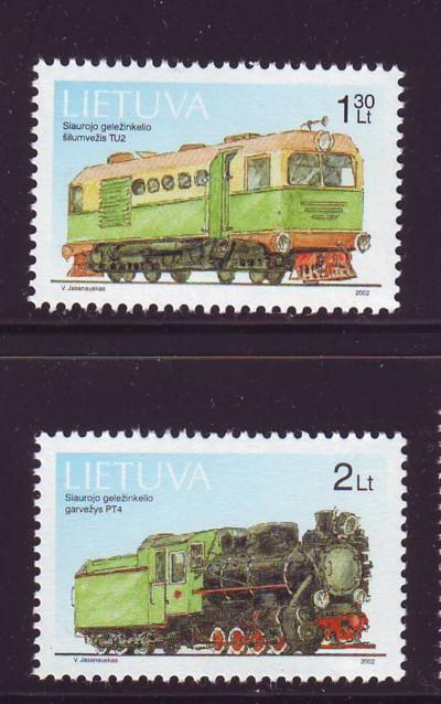 Lithuania Sc 724-5 2002 Narrow Guage RR's stamp set mint NH