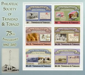 Trinidad & Tobago 2018 MNH Philatelic Society 6v M/S Stamps-on-Stamps Stamps