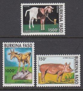 Burkina Faso 987-989 Animals MNH VF