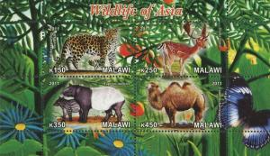 Malawi Wildlife Of Asia Camel Panther Souvenir Sheet of 4 Stamps Mint NH