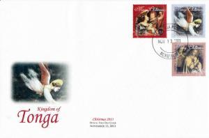 Tonga 2013 FDC Christmas 3v Set Cover Angels Art Vouet Jan Van Eyck Bondone
