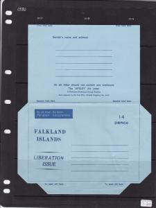 Falkland Islands Aerogramme 14p Liberation Issue Unused VGC