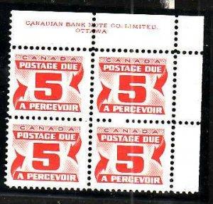 Canada-Sc#J32a- id5-plate block-UR-5cPostage Due-Perf 12-Dextrose gum-1969-