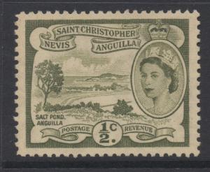 ST.KITTS & NEVIS;  1954 early QEII issue Mint hinged 1/2c. value