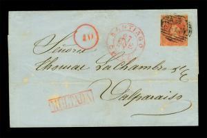 CHILE 1866 COLUMBUS 5c red Sc# 14 - POSTAGE DUE - MULTADA+10c on cvr to Valpa.