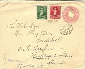 Argentina 1898 Postal Stationery Cover French PAQUEBOT Buenos Ayres a Bordeaux