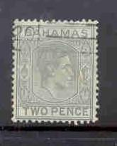 Bahamas Sc103 1938 2 d gray George VI stamp used