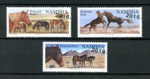 Namibia 2016 CTO Wild Horses R/P 3v Set Wild Animals Stamps