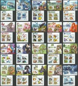 ST0611-0630 2015 SIERRA LEONE FAUNA BIRDS BUTTERFLIES MARINE LIFE 20BL+20KB MNH