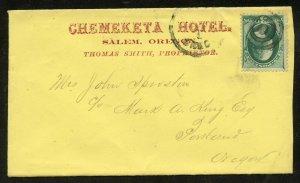 U.S. Scott 147 on Ad Cover for the Chemeketa Hotel in Salem, Oregon