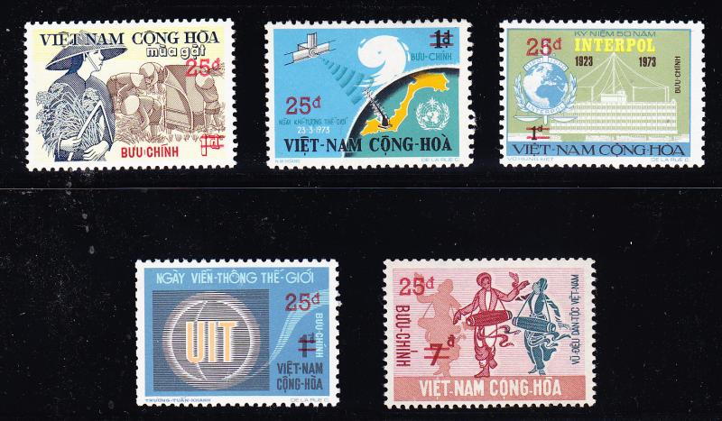 Viet Nam 1974-77 Surcharged Set Complete (5)  VF/NH(**)