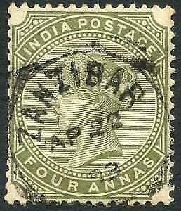 Zanzibar SGZ69 4a Olive-green Z5 Squared Circle dated 22 April 1893