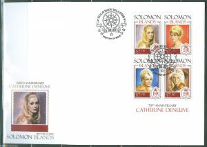 SOLOMON ISLANDS 2014 70th BIRTH CATHERINE DENEUVE SHEET  FIRST DAY COVER