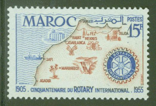 French Morocco Scott 309 MNH** 1955 Rotary Intl. stamp