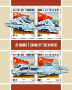 TOGO- 2019 - Chinese High Speed Trains - Perf 4v Sheet  - MNH