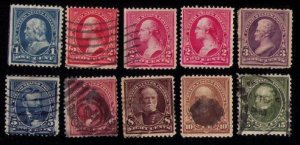 US Sc #264-284 NOT A COMPLETE SETEARLY PREZ ISSUES (10 STAMPS TOTAL) - F-VF