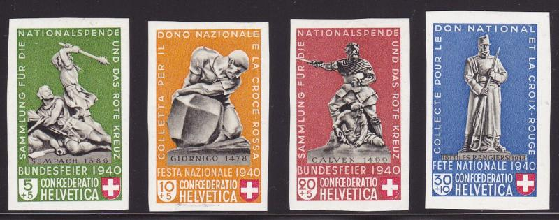 Switzerland 1940 Semi-Postal National Fete. Stamps Cut From Sheet B105a-d. VF/LH