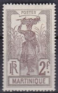 1908 Martinique Scott 100 Girl Bearing Pineapple in a  cane field mh