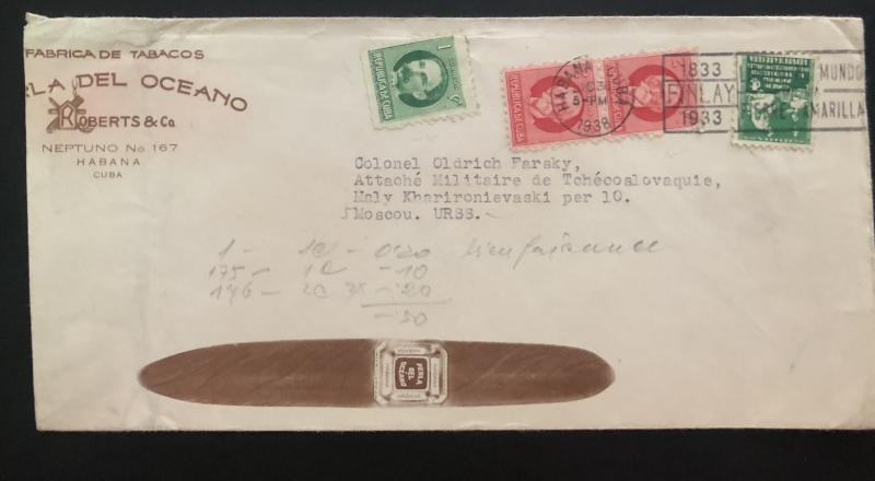 1938 Habana Cuba advertising Tobacco Factory cover  to Moscow Russia USSR