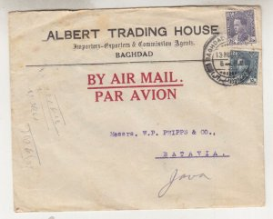 IRAQ, 1936 KLM Airmail cover, Baghdad to Neth. East Indies, 15f. & 40f..