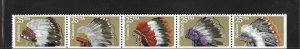 UNITED STATES, 2505C, MNH STRIP OF 5, TRADITIONAL NATIVE AMERICAN HEADDRESSES