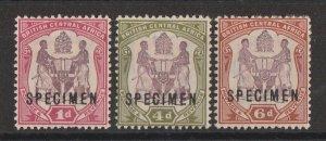 BRITISH CENTRAL AFRICA : 1901 Arms new colours set 1d-6d SPECIMEN.