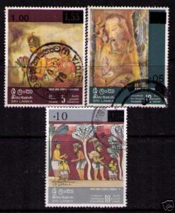 SRI LANKA Sc# 538 - 540 USED FVF Set3 Temple Paintings