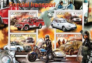 Uganda - 2012 Emergency & Police Transport - 4 Stamp Sheet - 21D-055