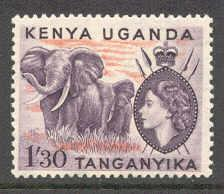 Kenya Uganda # 113  QE II  1sh30c Elephants  (1)   Mint NH